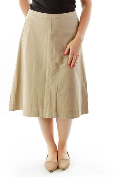 Brown A-Line Pocketed Skirt