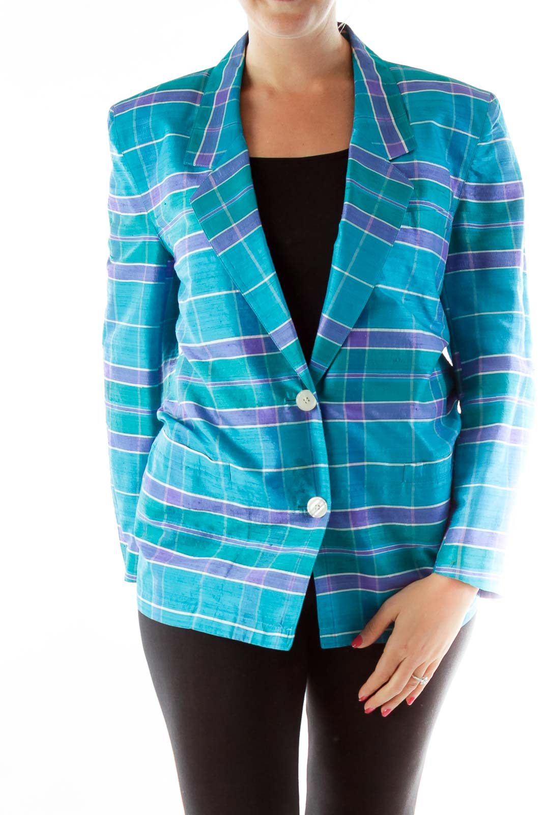 Green Blue Purple Plaid Blazer