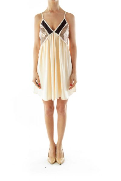 Cream Brown Sequined V-Neck Dress