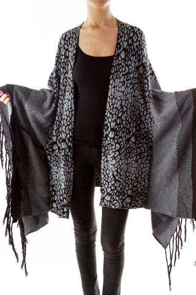 Black Gray Leopard Poncho