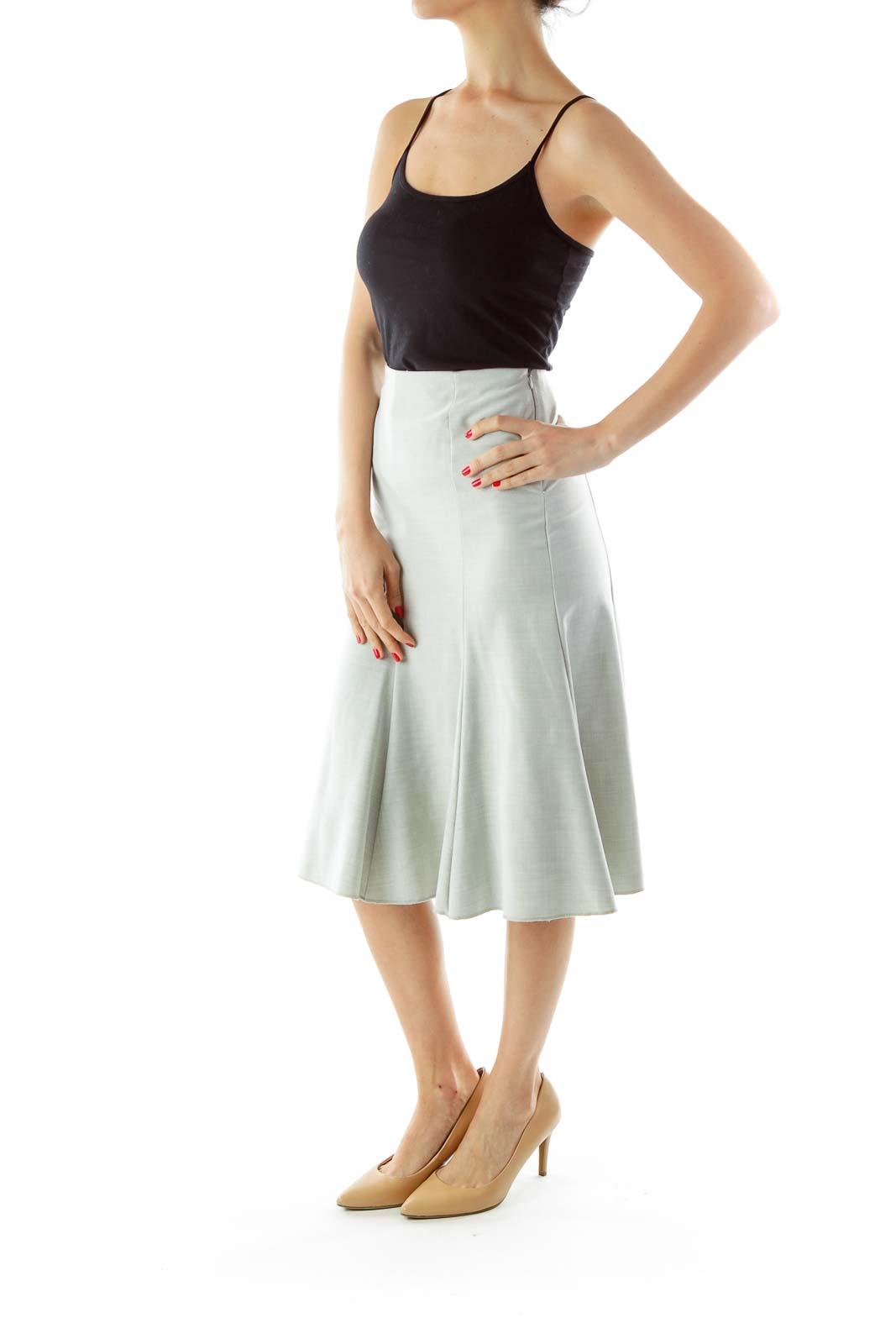 Gray Flared Midi Skirt