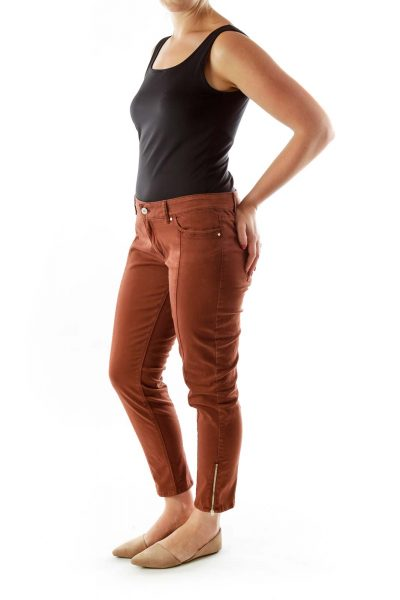 Brown  Bottom-Zippered Skinny Jeans
