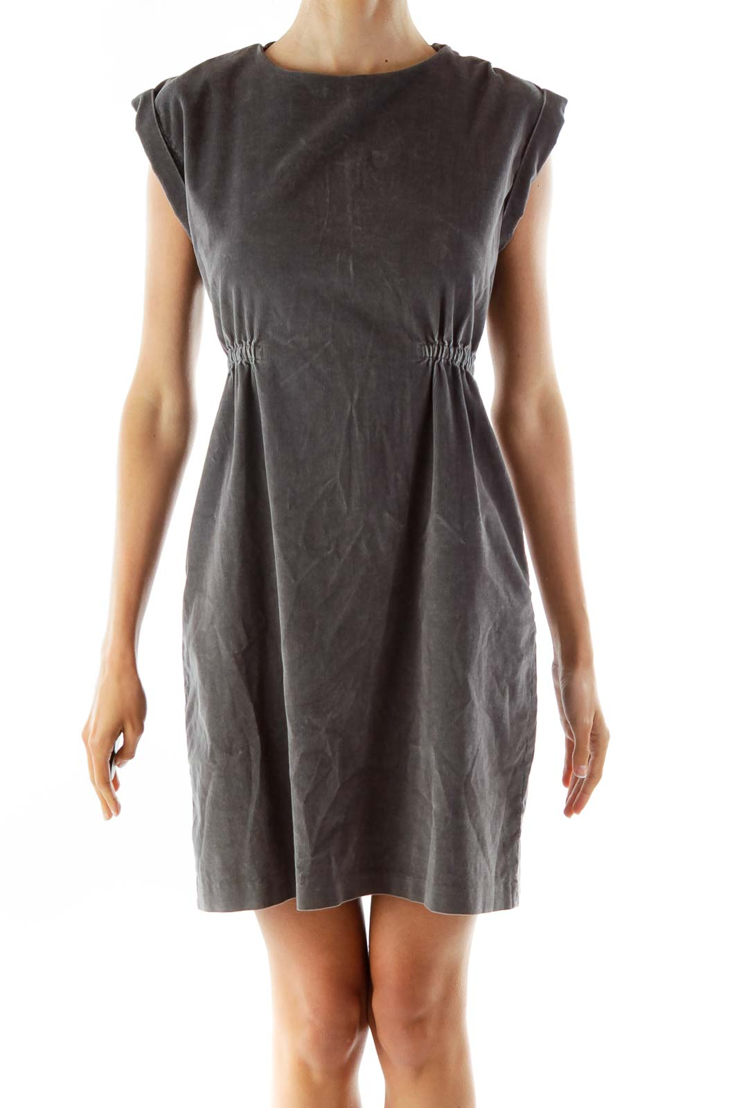 Gray Corduroy Scrunched A-Line Dress