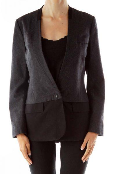 Gray Black Layered Wool Blazer