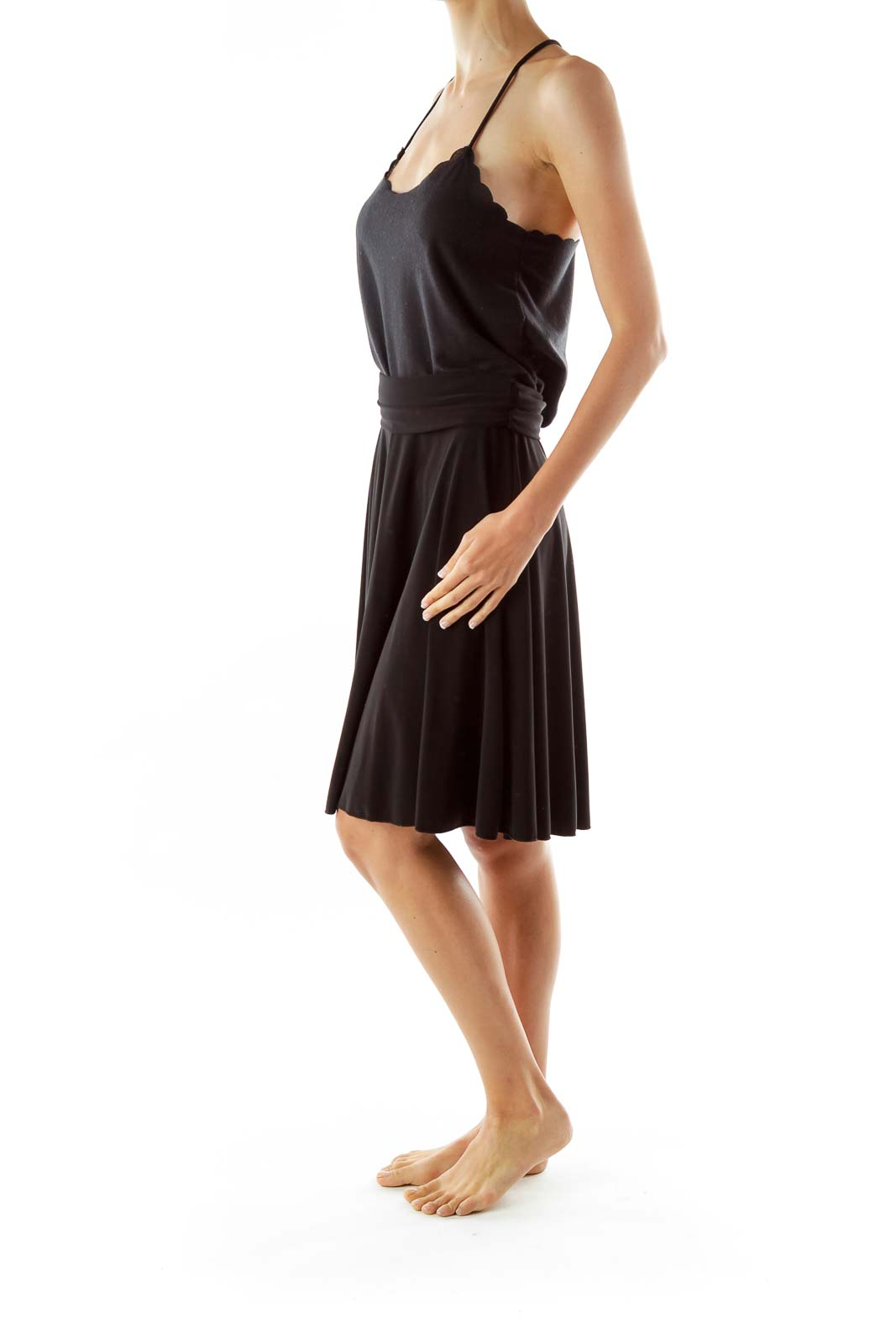 Black Flared Midi Skirt