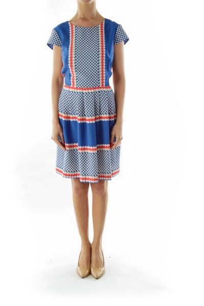 Blue White Pleated Printed Dress