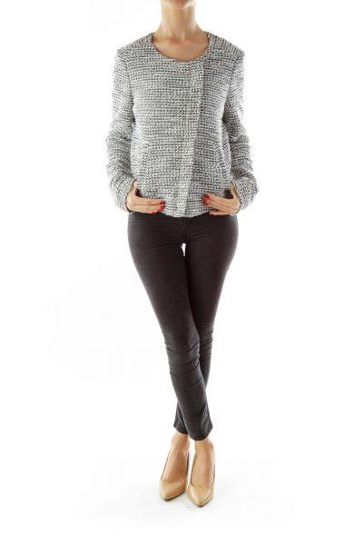 White Black Zippered Tweed Jacket