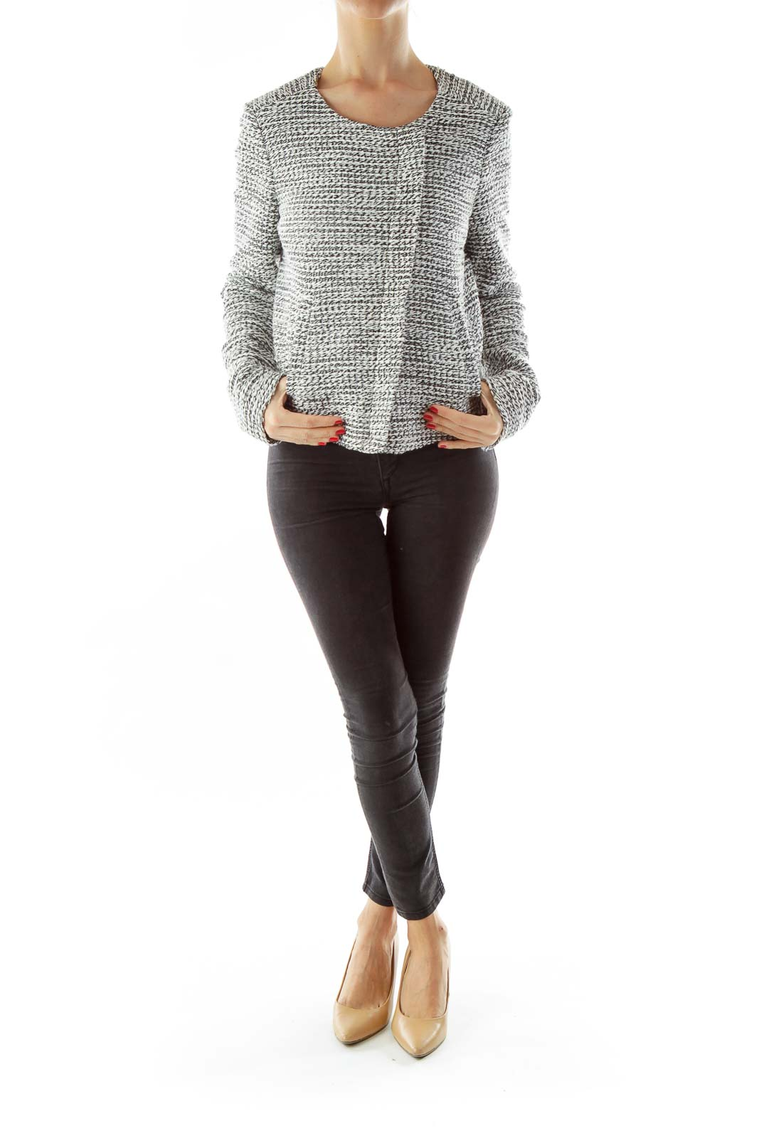 White Black Zippered Tweed Jacket