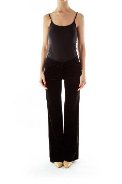 Black Velvet Wide-Leg Pants