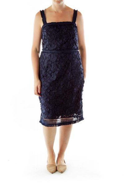 Navy Embroidered Sleeveless Day Dress