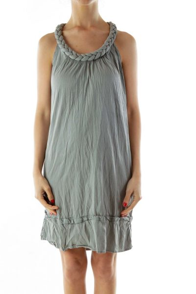 Gray Sleeveless Round Neck Day Dress