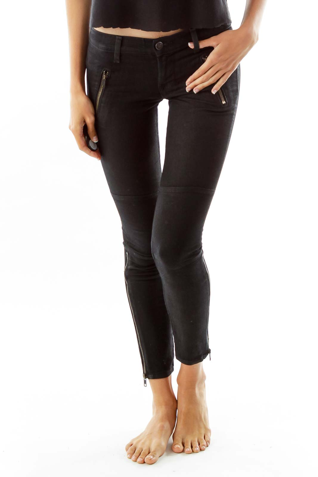 Black Faux-Leather Zippered Skinny Jeans