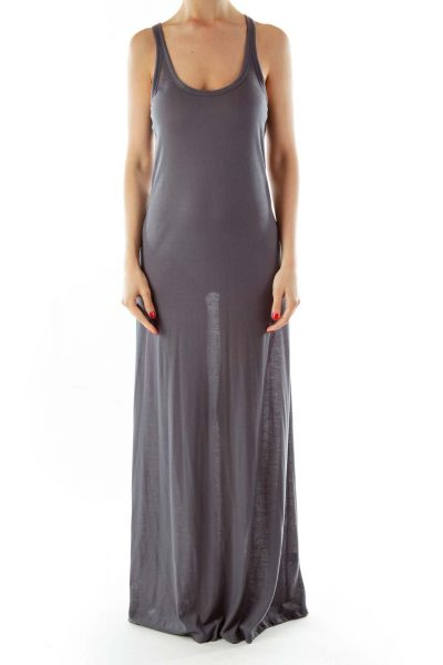 Gray Shimmery Sleeveless Day Dress