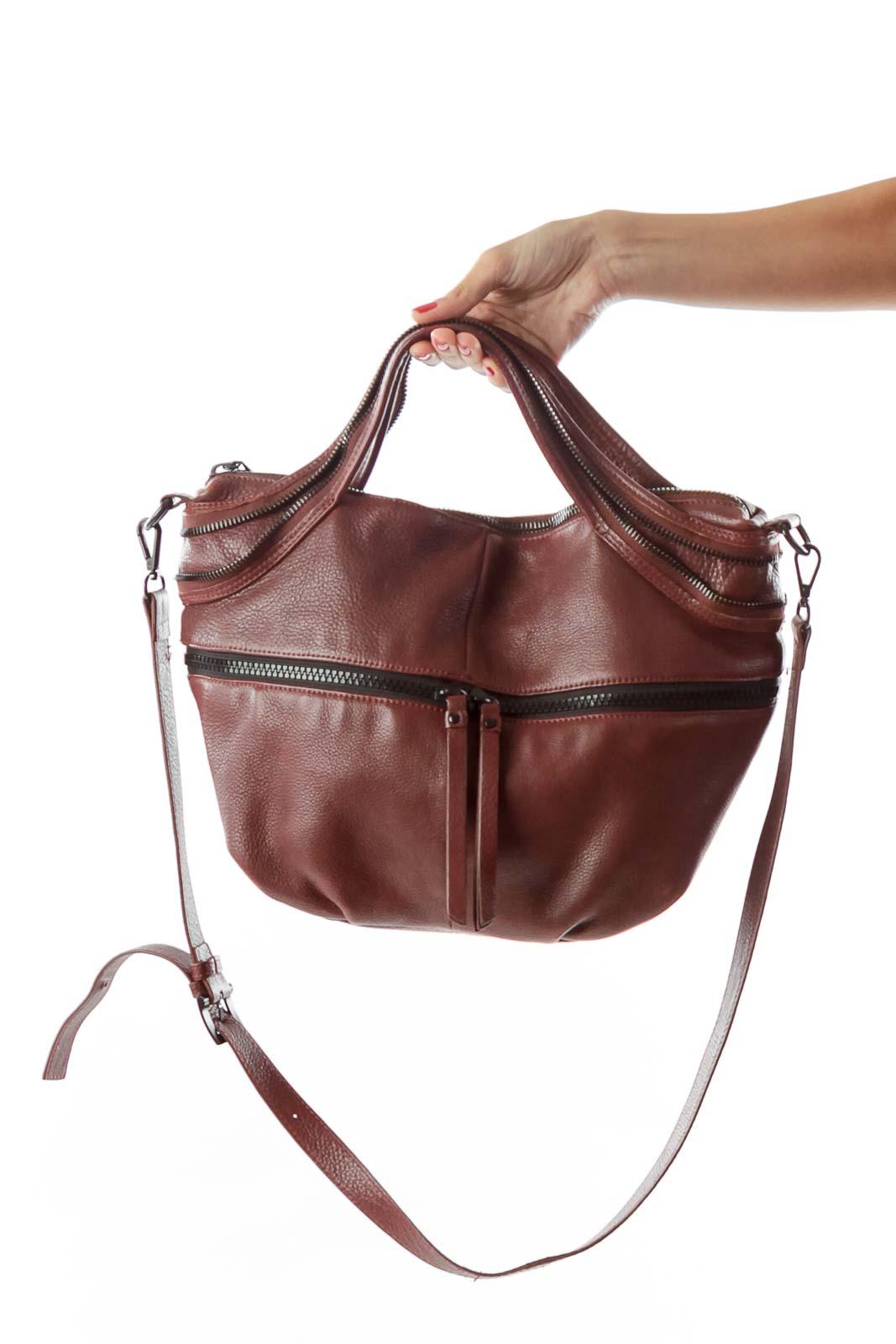 Burgundy Zippered Shoulder Bag