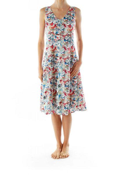 Blue Red Green Print Sleeveless V-neck Day Dress