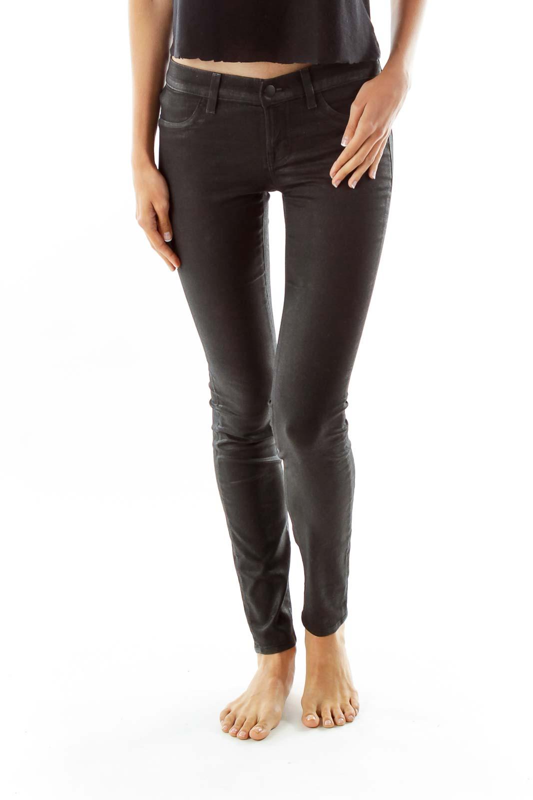 Black Sparkling Faux-Leather Jeans