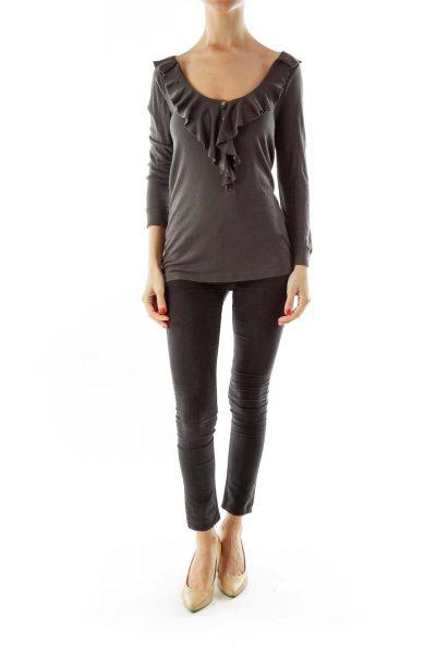Gray Ruffled Long Sleeve Top