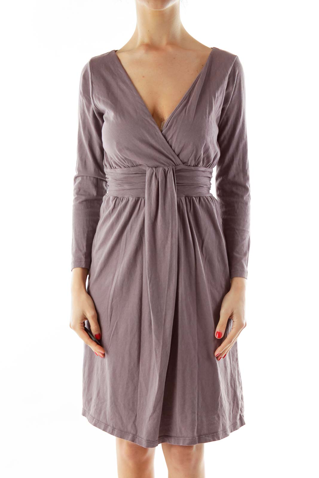 Purple V-neck Day Dress