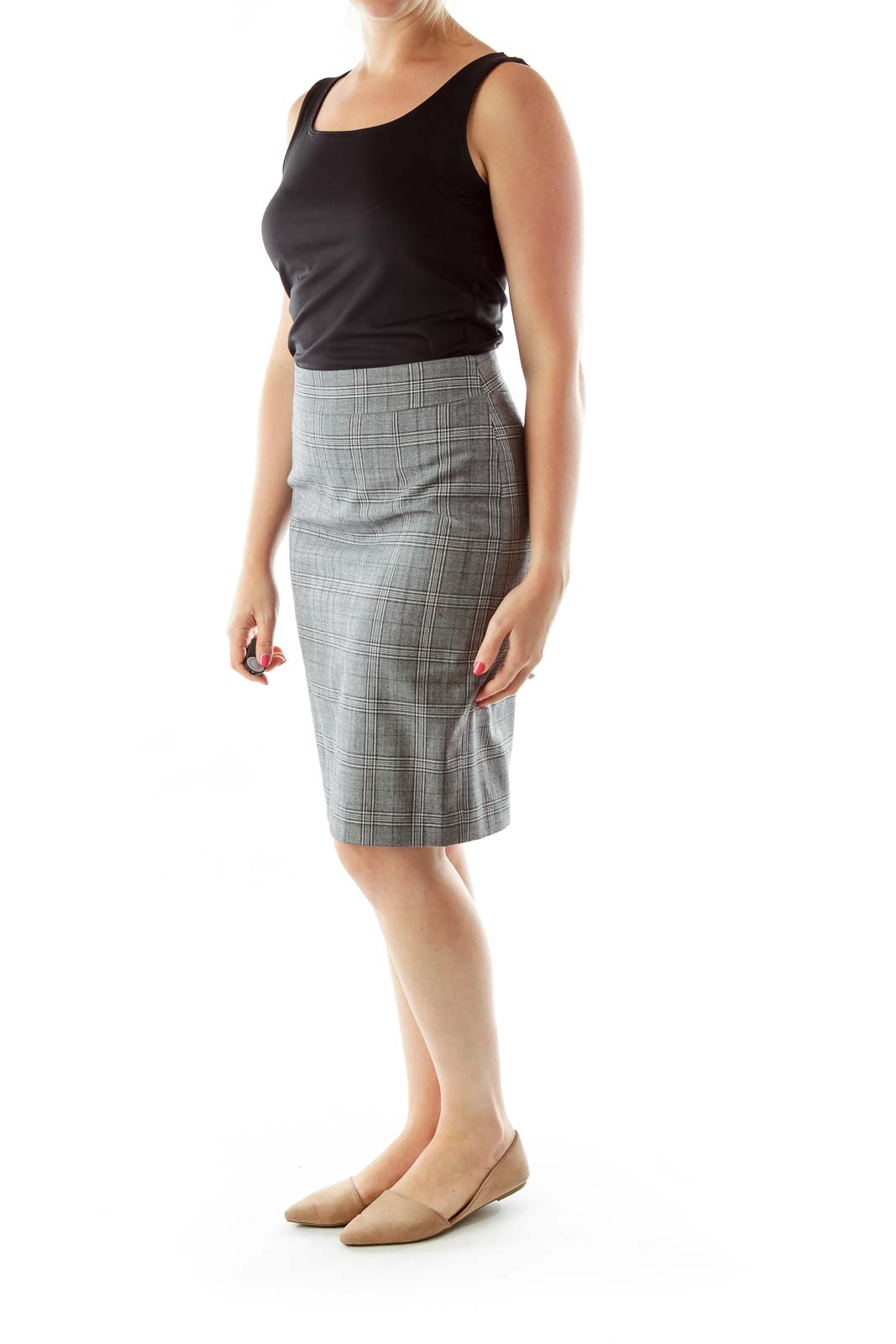Gray Tartan Wool Pencil Skirt