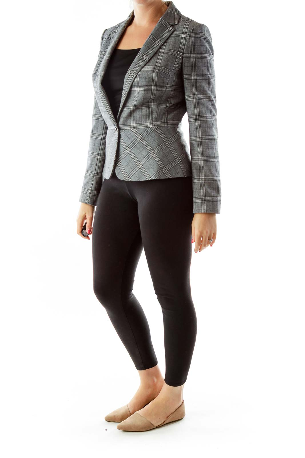 Gray Tartan Wool Blazer