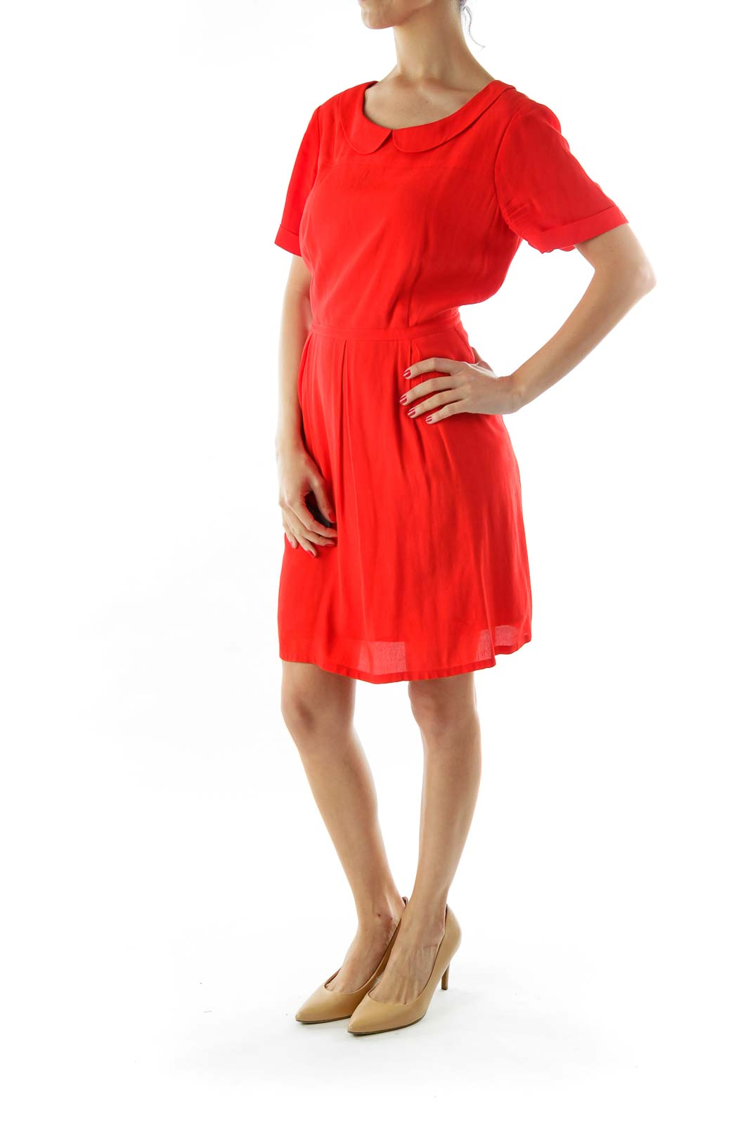 Red Short Sleeve Collared Work Dress