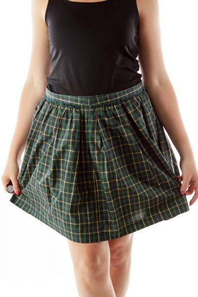Green Tartan A-Line Skirt