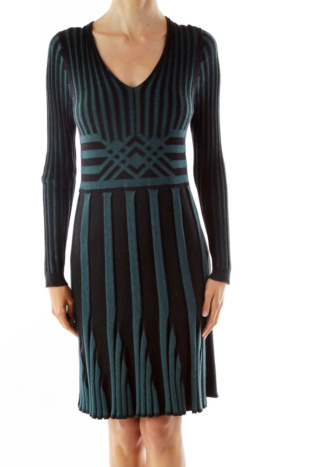 Green Black Textured Striped Day Dress