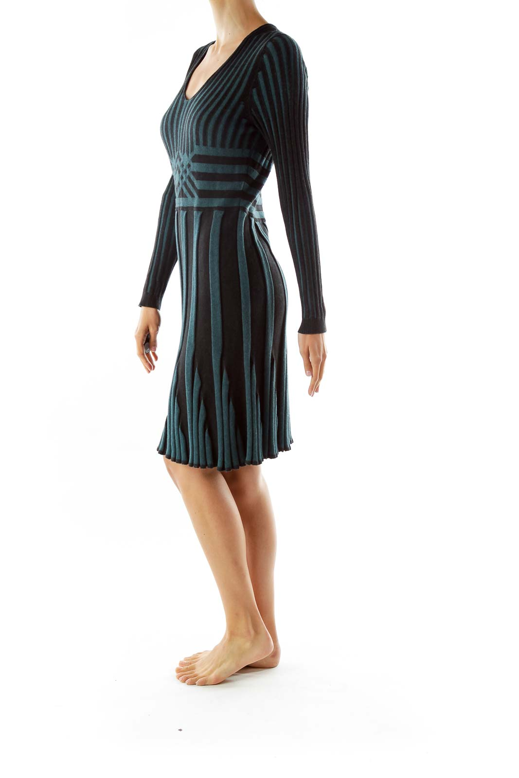 Green Black Textured Striped Day Dress