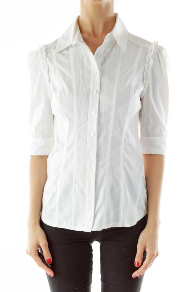 Cream Collared Buttoned Blouse