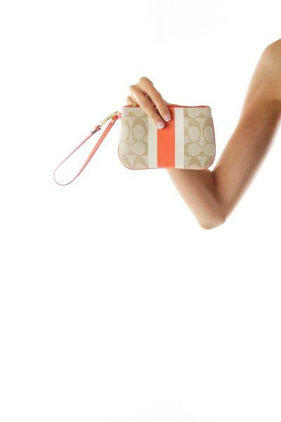 Orange Coach Print Wallet
