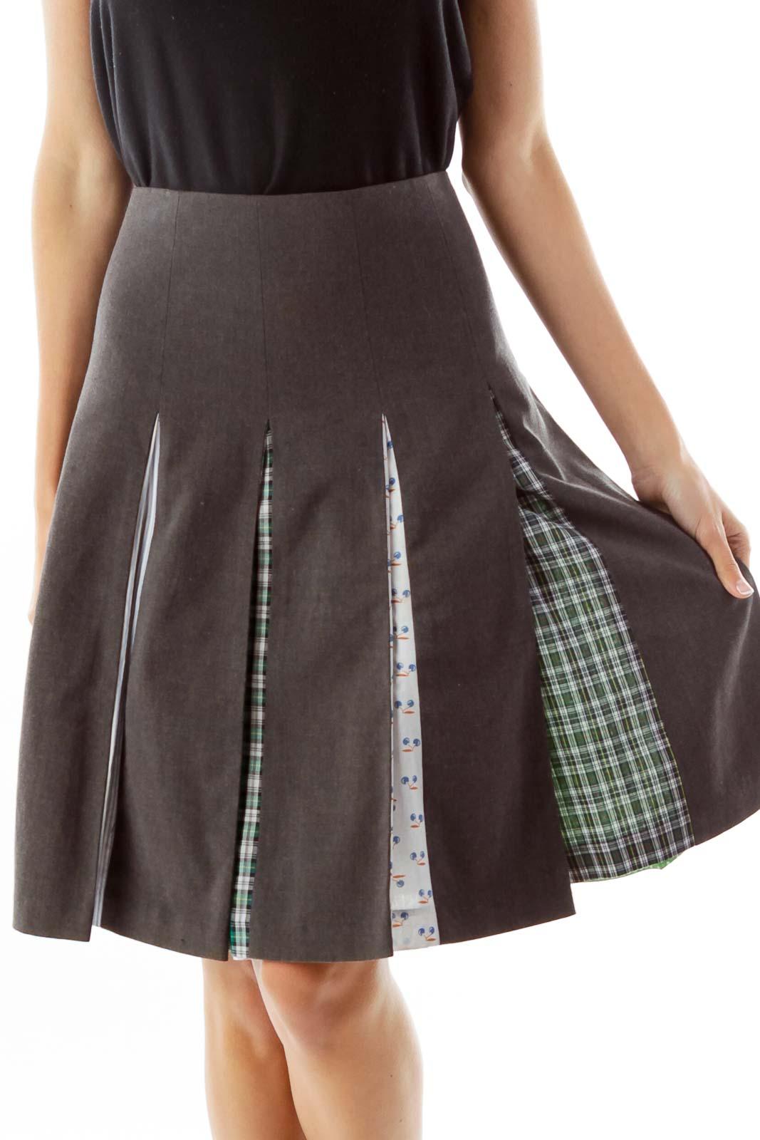 Gray Pleated Midi Skirt