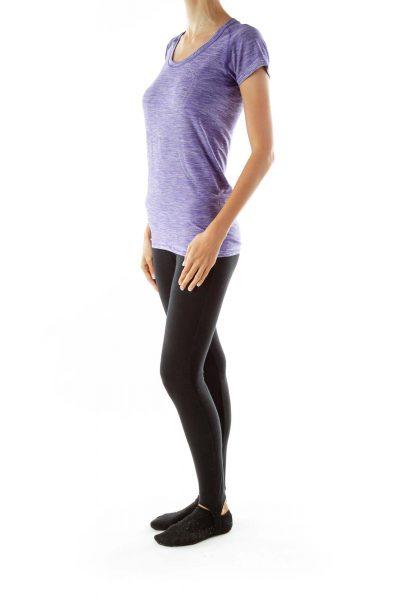 Purple Round Neck Active T-shirt