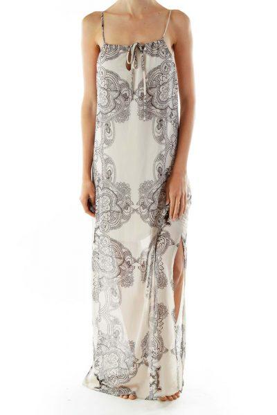 Beige Black Print Sleeveless Day Dress