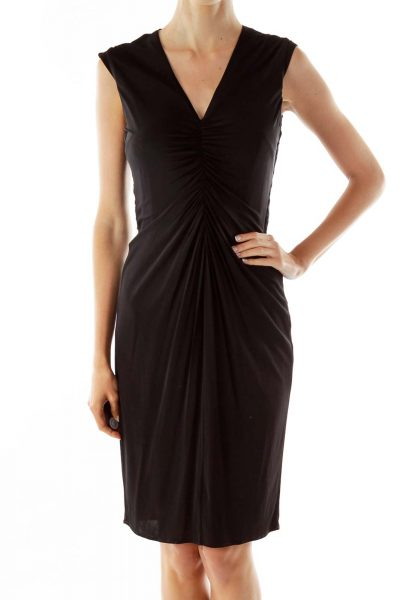 Black Gold V-neck Zippered Work Dress