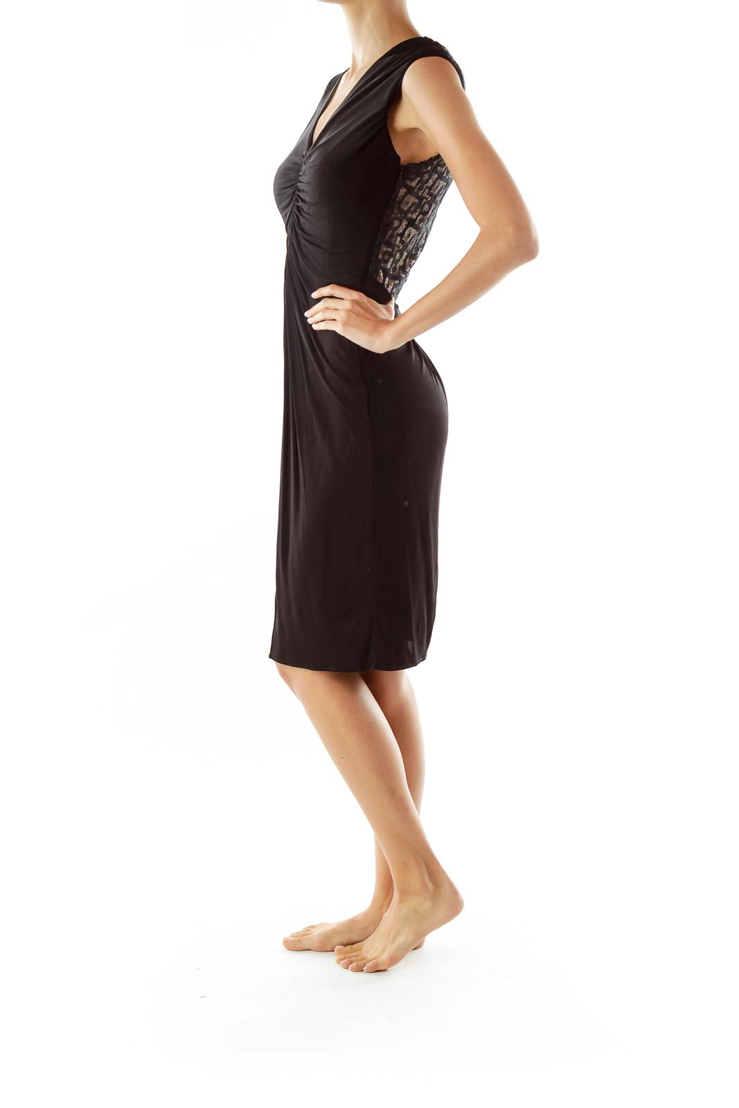 Black Gold V-neck Zippered Work Dress