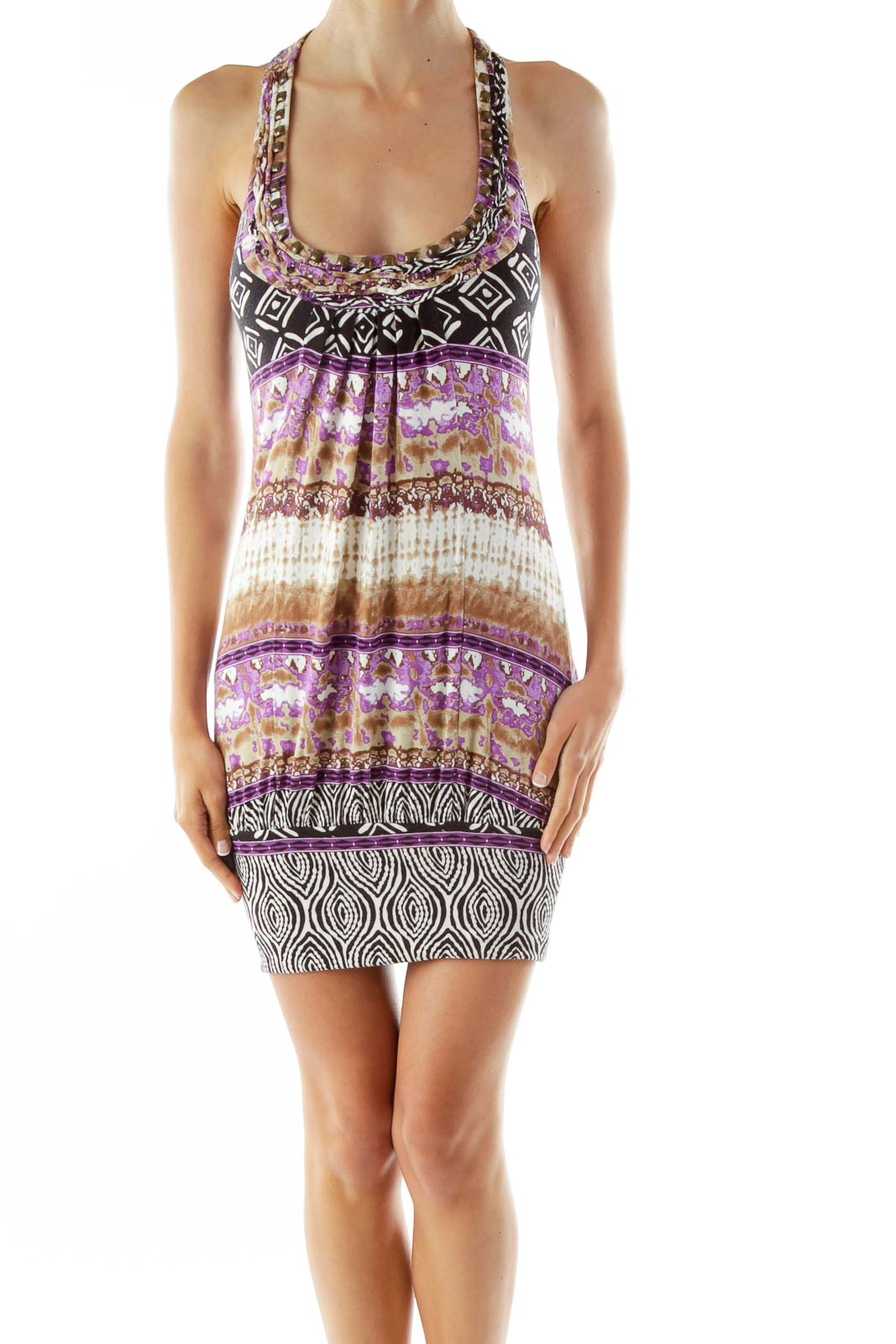 Black Purple Brown Sleeveless Studded Print Day Dress