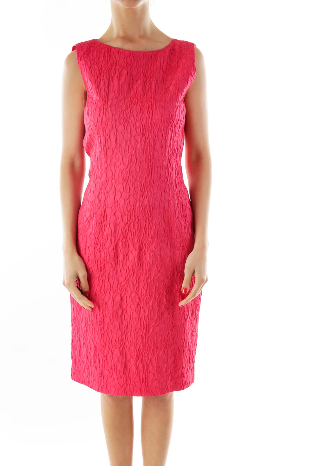 Pink Textured Sleeveless Work Dress