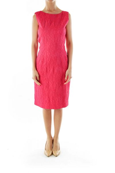 Pink Textured Sleeveless Work Dress