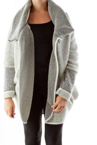 White Gray Collared Jacket