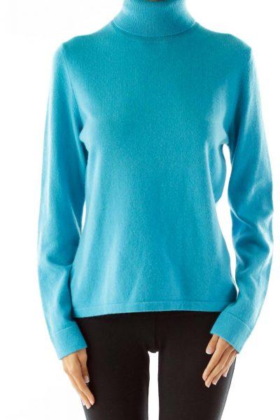 Blue Cashmere Turtle Neck Sweater