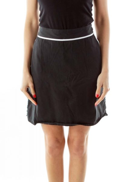 Black Pocketed Skirt w/ White Lines