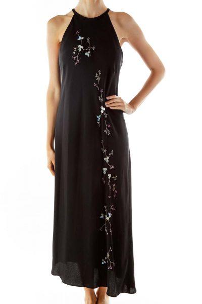 Black Embroidered Slip Evening Dress