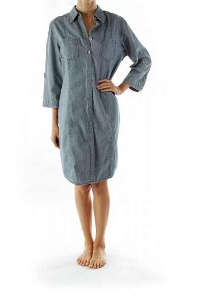 Gray Pocketed Shirt Dress