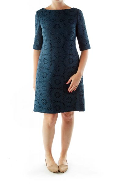 Green Zippered Lace Work Dress