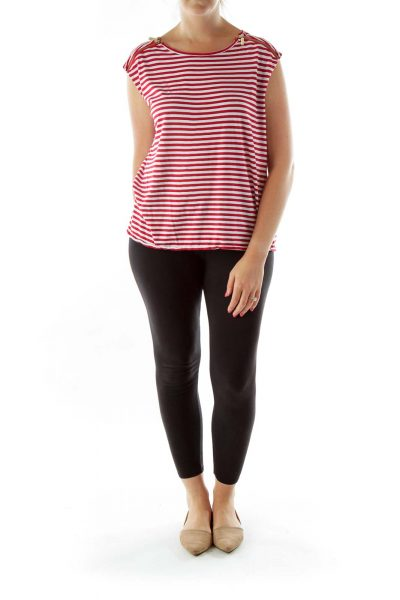Red White Zippered Striped Loose Top