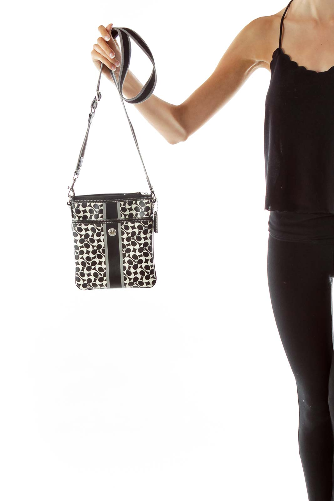 43cc0873 Shop Black White Coach Print Crossbody Bag clothing and handbags at ...