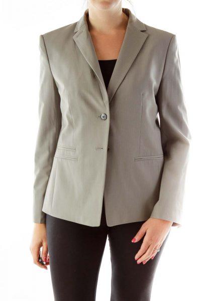 Grey Fitted Striped Blazer