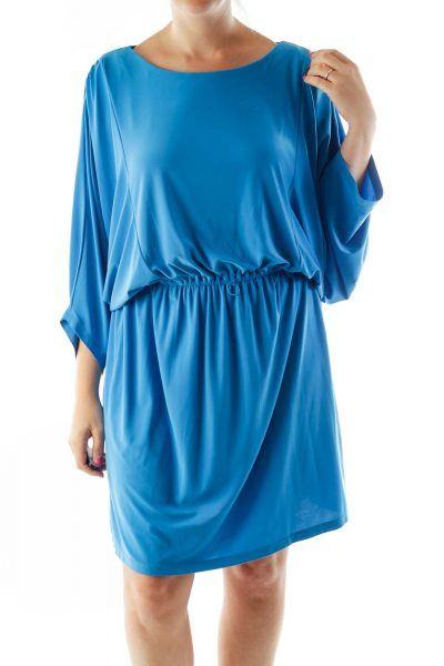 Blue Round Neck Day Dress