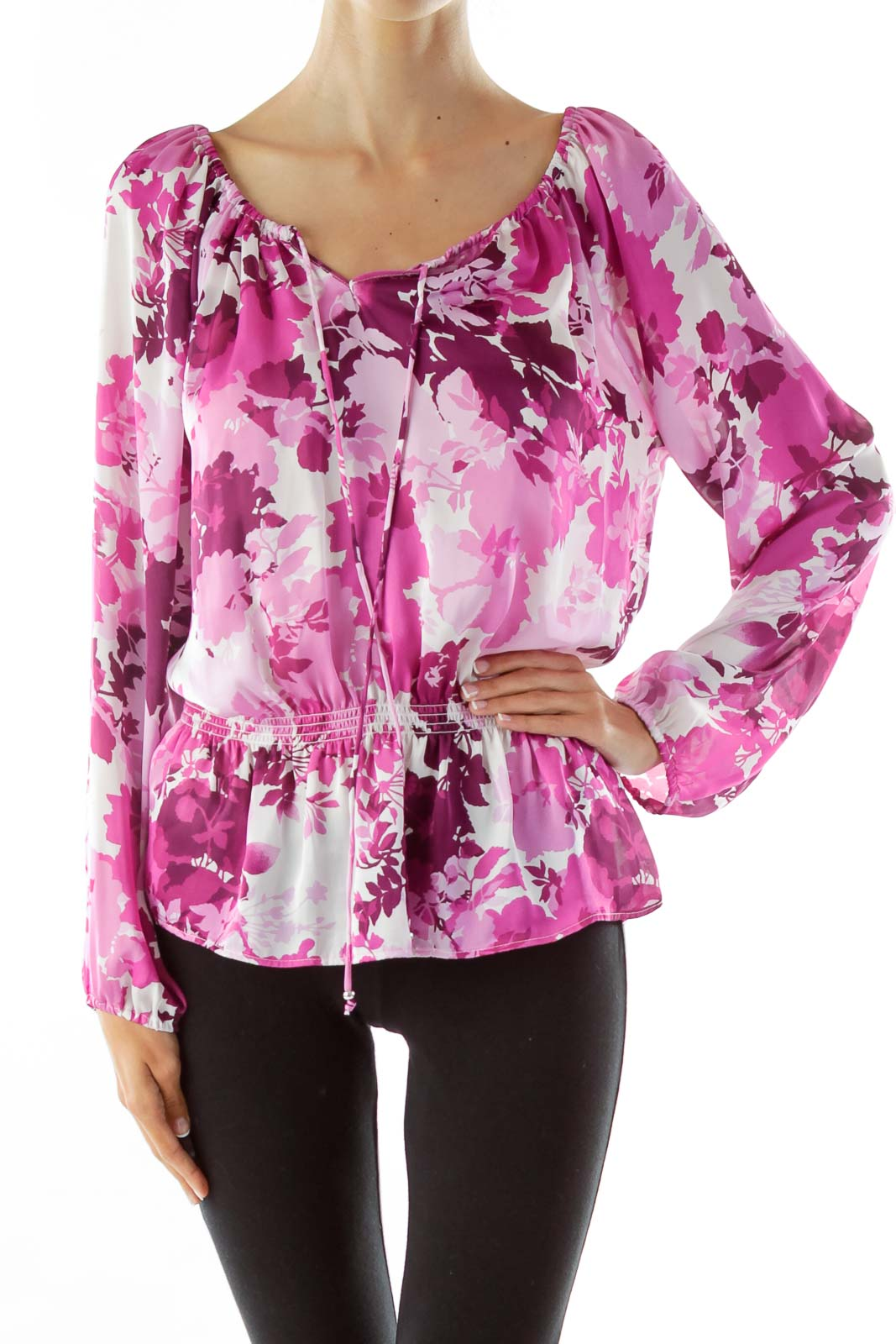 Purple White Scrunched Printed Top