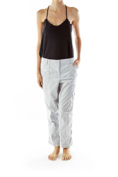 Gray Pocketed Cargo Pants